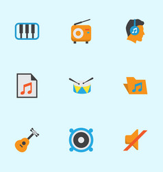 Music flat icons set collection of acoustic male vector