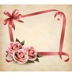 Retro holiday background with pink roses and vector image