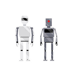 Two robots- modern shiny white retro metal grey vector