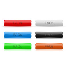 Faqs buttons glass rectangular 3d icons vector