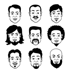Cartooning faces of the man vector
