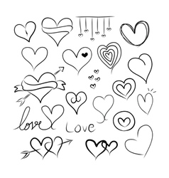 Set of doodle hearts vector