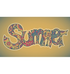 Text summer with floral multicolored background vector