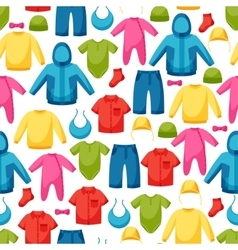 Baby clothes seamless pattern with clothing items vector