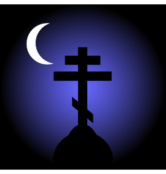 The orthodox cross at night vector