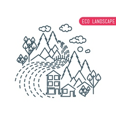 Flat eco liner design rural landscape business vector