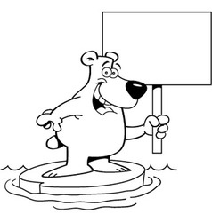 Cartoon polar bear holding a sign vector