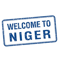 Welcome to niger blue grunge square stamp vector
