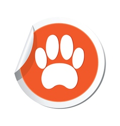 animal footstep ORANGE LABEL vector image vector image