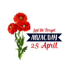 Anzac day 25 april red poppy icon ribbon vector