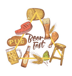 beer festival hand drawn design for poster banner vector image