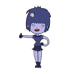 comic cartoon vampire girl giving thumbs up sign vector image vector image