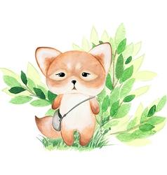 Cute watercolor fox vector