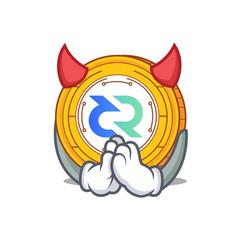Devil decred coin mascot cartoon vector