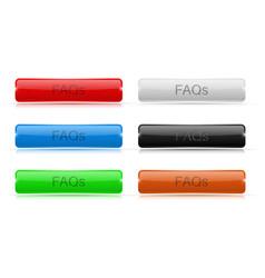 Faqs buttons glass rectangular 3d icons vector