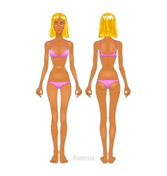 Fat and thin woman normal anorexia body vector