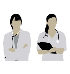 Female doctor silhouettes vector
