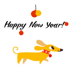 Funny yellow dog symbol of year 2018 flat style vector