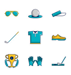 Golf tournament icons set cartoon style vector