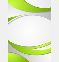 Green corporate wavy flyer background vector