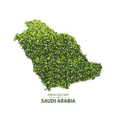 Green leaf map of saudi arabia vector