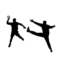Handball player and goalkeeper vector