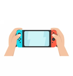 Hands holding portable gaming console vector