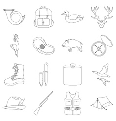 Hunting set icons in outline style Big collection vector image vector image