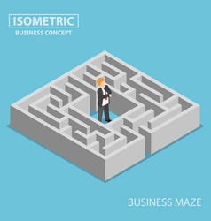 Isometric confused businessman stuck in a maze vector