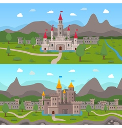 Medieval ancient castles compositions vector