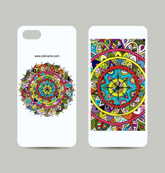 Mobile phone cover design floral mandala vector