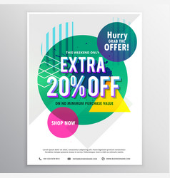 Modern promotional flyer template with discount vector