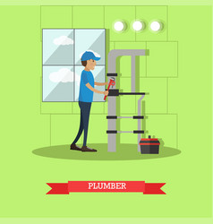 plumber in flat style vector image vector image