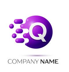 Q letter splash logo purple dots circle bubble vector