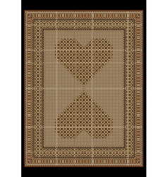 Rug in a light brown tones with patterned hearts vector image