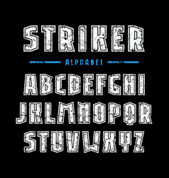 Sans serif font with contour and rough texture vector