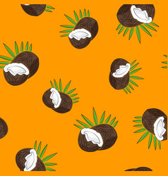 Seamless pattern coconut on yellow background vector