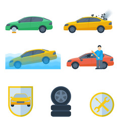set insurance cases of car crash stolen wheel vector image vector image
