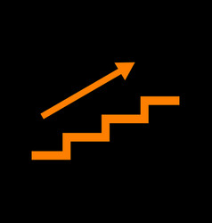Stair with arrow orange icon on black background vector
