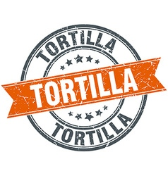 Tortilla round orange grungy vintage isolated vector
