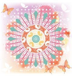 Tropical mandala with flowers and butterflies vector image vector image