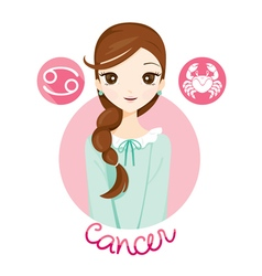 Woman with cancer zodiac sign vector