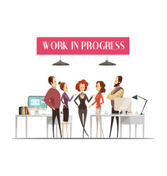 work in progress cartoon style design vector image vector image