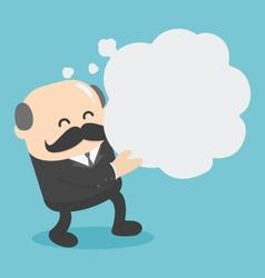 Businessman holding a empty speech bubble vector image