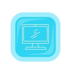 Desktop computer icon button isolated on white vector