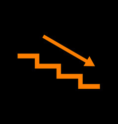 stair down with arrow orange icon on black vector image