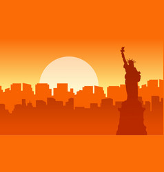 liberty at sunset scenery silhouettes vector image