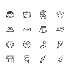 girl school black icon set on white background vector image