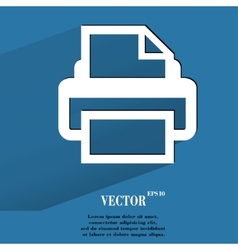 Printer flat modern web button with long shadow vector