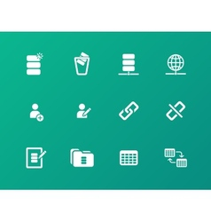 Database icons on green background vector
